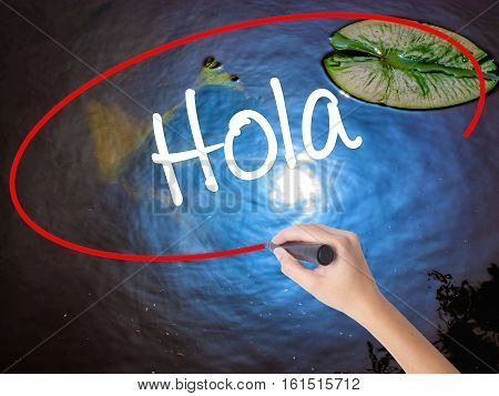 Woman Hand Writing Hola  (hello In Spanish) With Marker Over Transparent Board