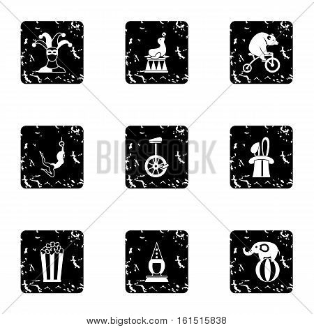 Concert in circus icons set. Grunge illustration of 9 concert in circus vector icons for web