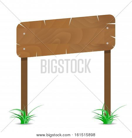 Wooden signboard on post with grass. Wood board for announcement. wood signboard vector illustration