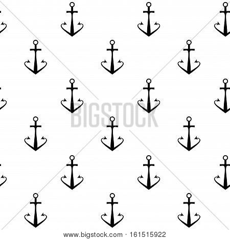 Anchor seamless pattern black white. Nautical ship anchor. vector pattern with vintage anchor illustration