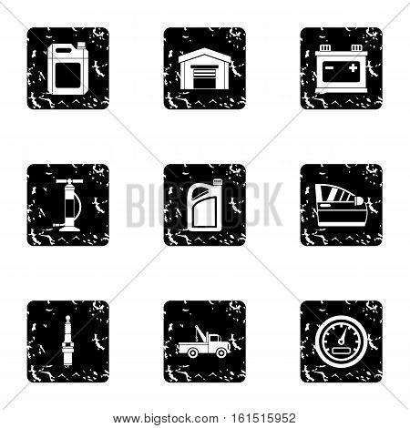 Repair machine icons set. Grunge illustration of 9 repair machine vector icons for web