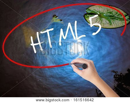Woman Hand Writing Html 5 With Marker Over Transparent Board
