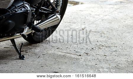 Big chromed exhaust on motorcycle machine, style, horsepower,