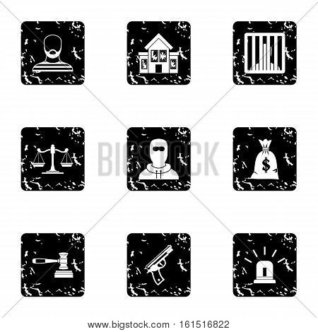 Robbery icons set. Grunge illustration of 9 robbery vector icons for web