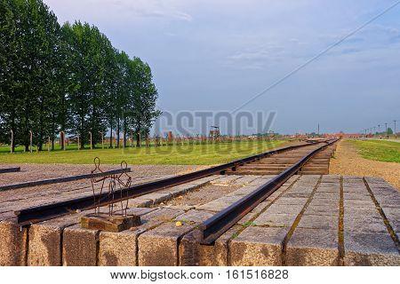 Oswiecim, Poland - May 2, 2014: Rail track in Auschwitz Birkenau concentration camp Poland.