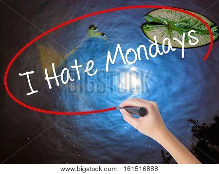 Woman Hand Writing I Hate Mondays With Marker Over Transparent Board
