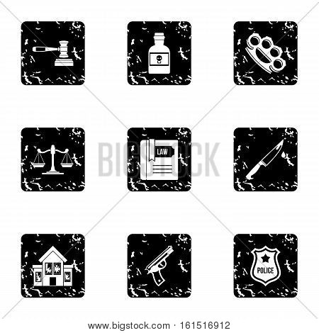 Crime icons set. Grunge illustration of 9 crime vector icons for web