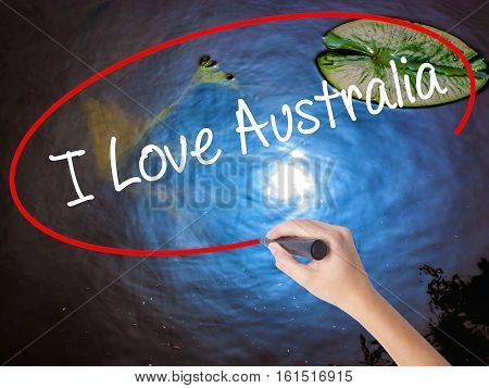 Woman Hand Writing I Love Australia With Marker Over Transparent Board