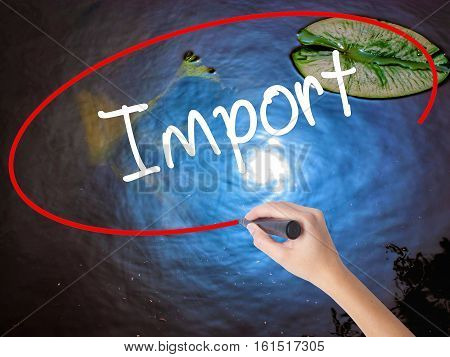 Woman Hand Writing Import With Marker Over Transparent Board