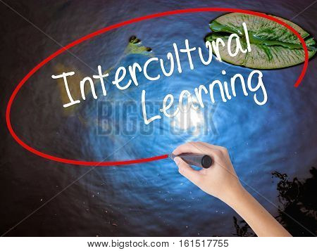 Woman Hand Writing Intercultural Learning With Marker Over Transparent Board