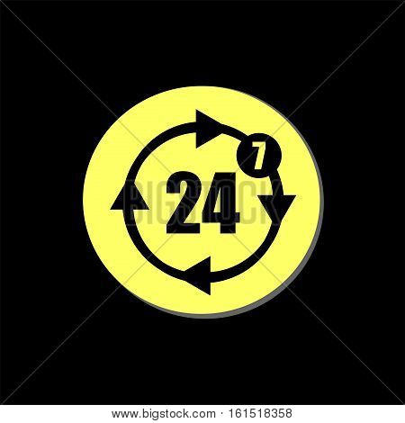 Button With Twenty Four Hours By Seven Days Icon