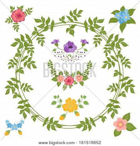 Set of hand drawn flower and leaves wreathes. Collection of rustic floral elements and ornaments. Vector illustration. Cartoon style