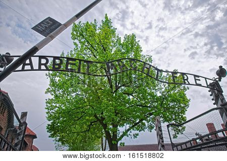 Oswiecim, Poland - May 2, 2014: Inscription at the entrance gate into Auschwitz concentration camp Poland.