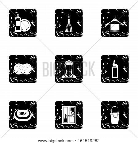Maid works icons set. Grunge illustration of 9 maid works vector icons for web