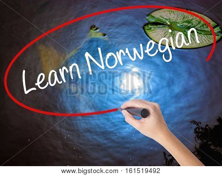 Woman Hand Writing Learn Norwegian With Marker Over Transparent Board.