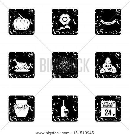 Thanksgiving day icons set. Grunge illustration of 9 thanksgiving day vector icons for web