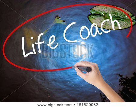Woman Hand Writing Life Coach With Marker Over Transparent Board