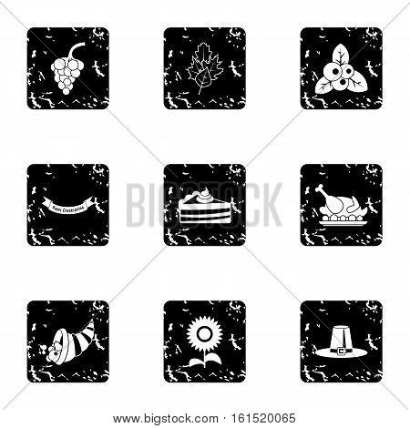 Thanksgiving feast icons set. Grunge illustration of 9 thanksgiving feast vector icons for web