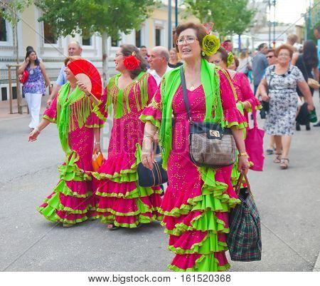 Ladies In Matching Flamenco Dresses