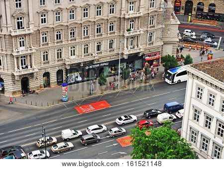 BUDAPEST HUNGARY - JUNE 11: Top view of avenue in Budapest city on June 11 2016. Budapest is a capital and largest city of Hungary.