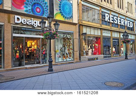 BUDAPEST HUNGARY - JUNE 3: Shopping street in city centre of Budapest city on June 3 2016.