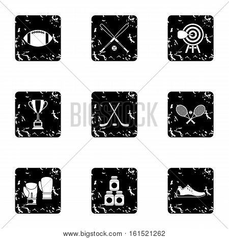 Sports accessories icons set. Grunge illustration of 9 sports accessories vector icons for web