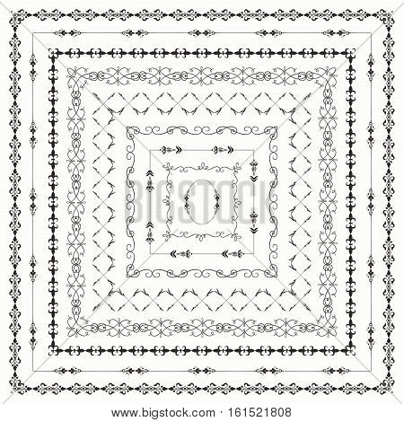 Collection of Vector Black Outlined Hand Drawn Vintage Square Borders, Frames. Design Elements. Vector Illustration