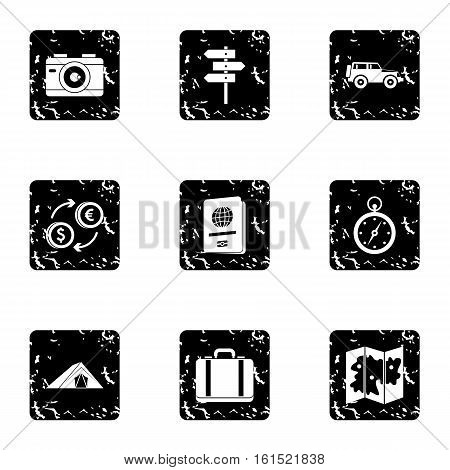 Tourism at sea icons set. Grunge illustration of 9 tourism at sea vector icons for web