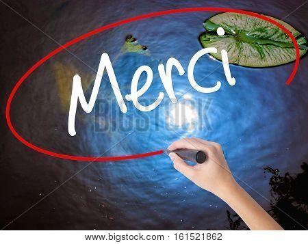 Woman Hand Writing Merci  (thank You In French) With Marker Over Transparent Board.