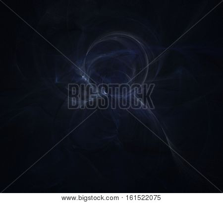 Abstract chaotic smoky dark blue fractal background