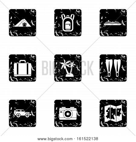 Journey to sea icons set. Grunge illustration of 9 journey to sea vector icons for web