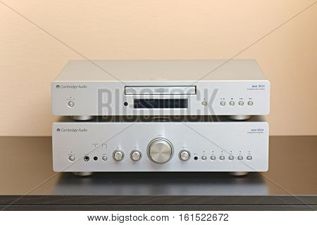 BUDAPEST, HUNGARY - December 1, 2016: Midrange hifi system with CD player and amplifier, Cambridge Audio 651A and 351C