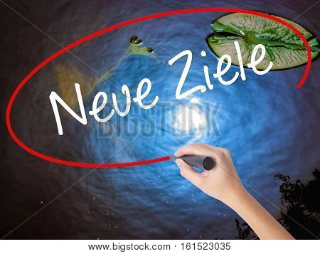 Woman Hand Writing Neue Ziele (new Goals In German)  With Marker Over Transparent Board