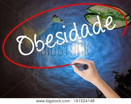 Woman Hand Writing Obesidade (obesity In Portuguese)  With Marker Over Transparent Board