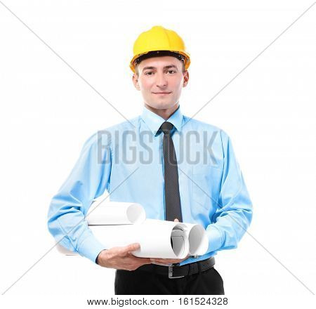Engineer in yellow helmet holding projects isolated on white