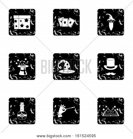 Witchery icons set. Grunge illustration of 9 witchery vector icons for web