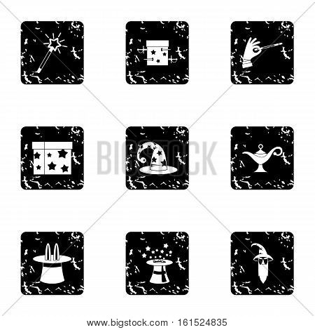 Witchcraft icons set. Grunge illustration of 9 witchcraft vector icons for web