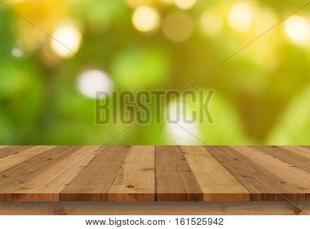 Wood floor and bokeh background, flooring, perspective,