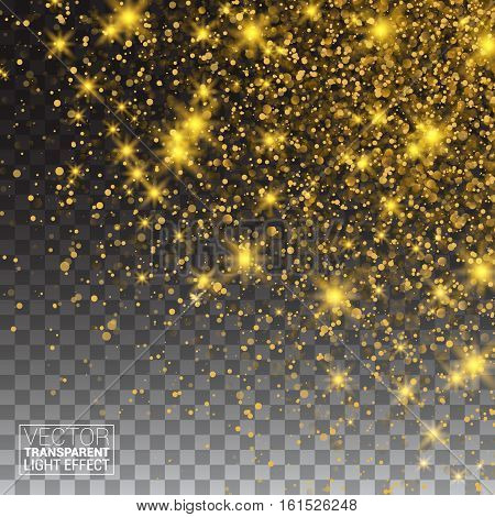 Gold Glitter Dust Texture. Sparkling background luminous gold Stars Star dust sparks in explosion on transparency background. Gold Particles. Luxury Design. Vector illustration.