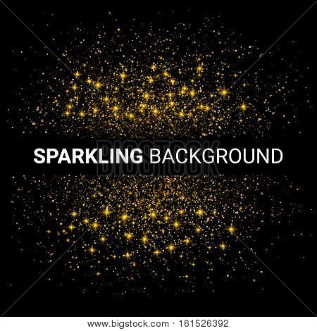 Vector luxury black background with gold sparklers template for your text. Glitter particles effect. Vector Illustration.
