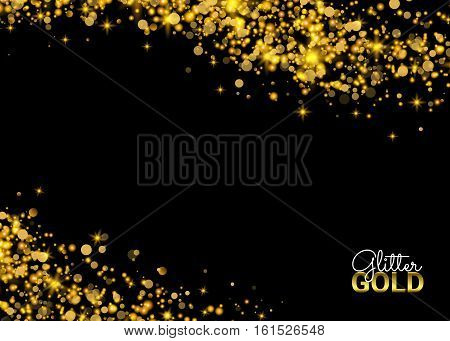 Abstract Sparkling Luminous Golden grainy abstract texture on a black background. Gold glitter texture on a black background. Golden explosion. Design element. Vector illustration.
