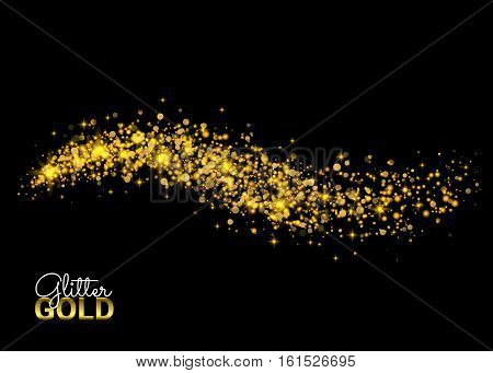 Cosmic glittering wave. Vector golden sparkling star. Magic glowing stardust trail. Gold glittering stars dust trail sparkling particles on black background. Space comet tail.