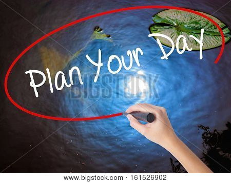 Woman Hand Writing Plan Your Day With Marker Over Transparent Board