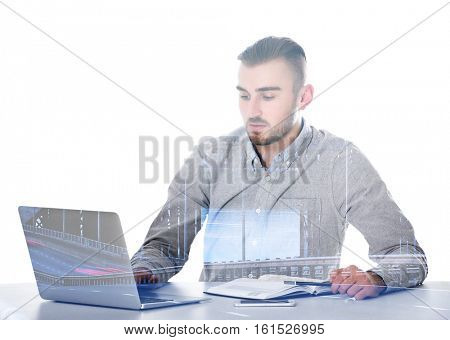 Double exposure of man working with laptop and bridge on white background. Business concept.