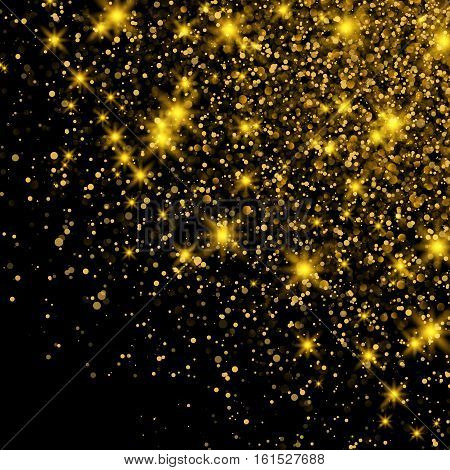 Gold Glitter Dust Texture. Sparkling background luminous gold Stars Star dust sparks in explosion on black background. Gold Particles. Luxury Design. Vector illustration.