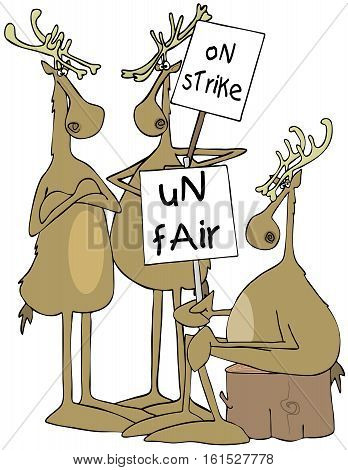 Illustration of three reindeer striking and holding picket signs.