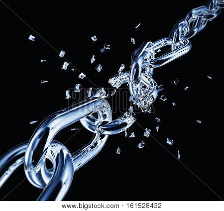 3D rendering of a broken chain with a black background