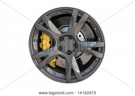 Modern metal wheel rim texture isolated on white