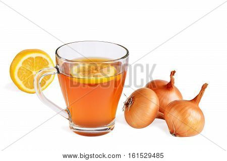 Onion tea for colds and cough with lemon. Homemade folk remedy in glass mug isolated.
