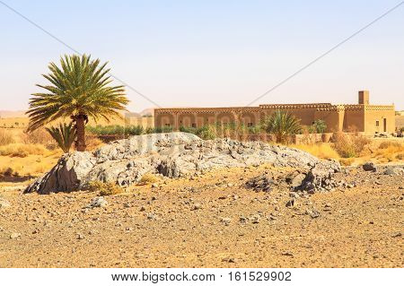 Beautiful Moroccan Mountain Landscape In Desert With Oasis